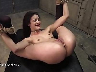 Deep in her throat babe anal fucked in bondage