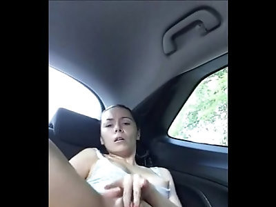 Alone in the car squirt