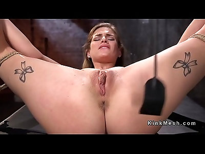 Hogtied blonde whipped and toyed