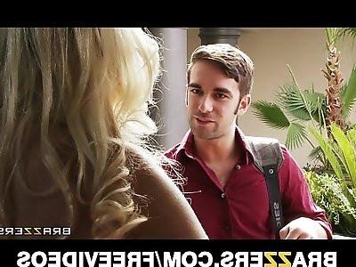 Lonley blonde wife Britney Amber fucks her husbands best friend
