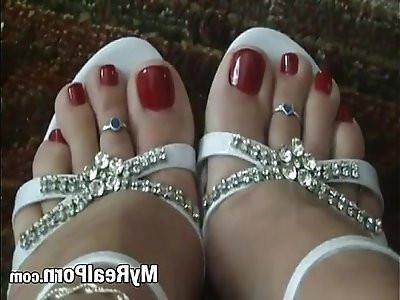 Foot feet sexy long legs shoes red nail polish