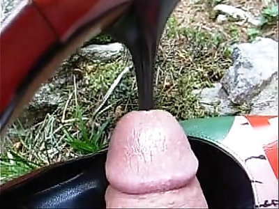Outdoor public red heel insertion into cock
