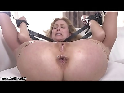 Blonde gets anal with her panties in mouth