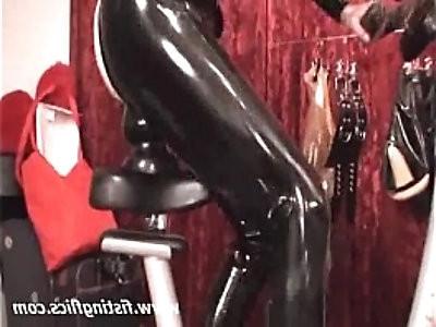 XXL butt fuck on a bike seat