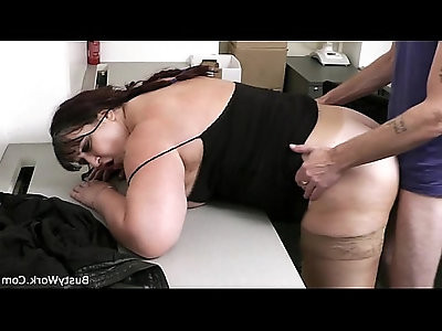 Busty working woman it from behind