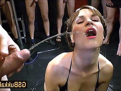Euro brunette Luisa is ready for her big group golden shower