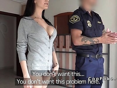 Big boobs amateur couple fucks fake cop in her flat