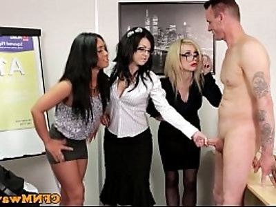 Euro CFNM femdom sucking on a cock in office