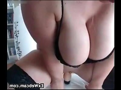 Busty brunette Slut Spanks Herself