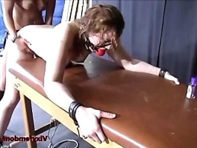 Femdom mistress uses bondage on her sub while she squirts