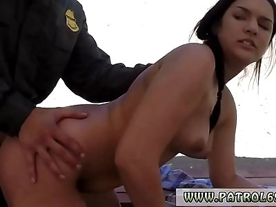 Kitty fucks police and cop prisoner first time Mexican border patrols
