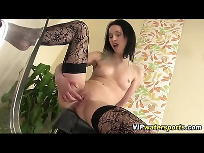 Stockings slut pisses and toys