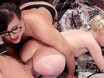 Busty amateur Milf and blonde anal threesome