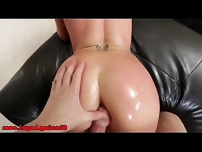 Cocksucking babe gets cum on oiled booty