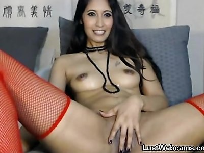 Dildo gagging on webcam