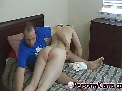 Curvy redhead gets a spanking